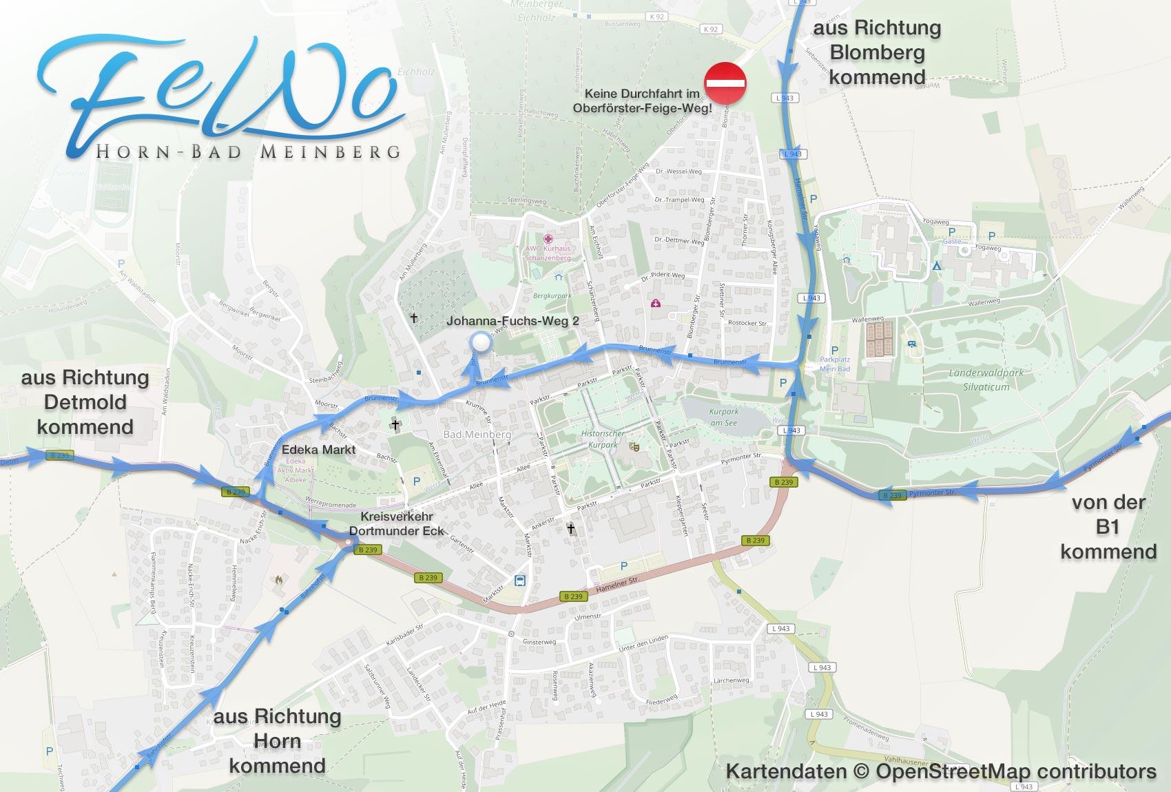 Fewo Horn-Bad Meinberg Anfahrsplan